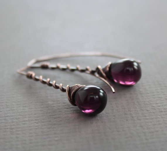 This elegant and delicate wire copper drop earrings made with beautiful purple amethyst color of Czech glass teardrops beads (14 by 10mm in size) uniquely wrapped with 20 gauge solid copper wire for this rectangular shape rectangular hooks. ATTENTION - ORDERS TO US: Shipping to US uses