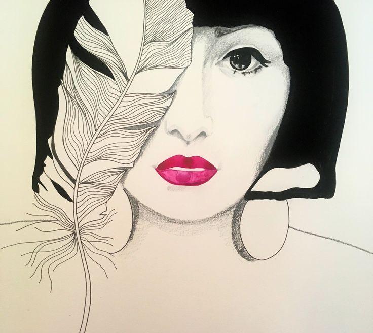 Red Lips   Portrait Illustration