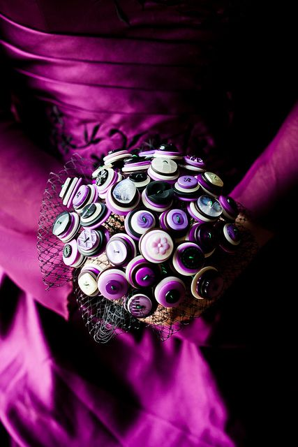 Homemade button bouquet.   Found on offbeatbride.com  Heather and Ian's goth with a splash of purple wedding  http://offbeatbride.com/2013/01/canada-goth-purple-wedding#  HeatherIan-206 by anatomicalheart, via Flickr