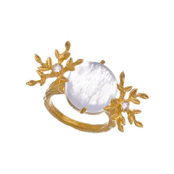 Indulgems Rainbow Moonstone Snowflake Ring ($145) ❤ liked on Polyvore
