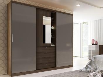 Guarda-roupa Casal 3 Portas de Correr 4 Gavetas - Móveis Carraro Emozione Áries com Espelho