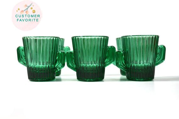 Green Cactus Cactus Shot Glass Southwestern Shot by JudysJunktion