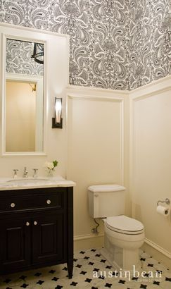 Gorgeous Patterned Wallpaper Against Bright Wainscoting Is A Smart Twist On  The Black And White Bathroom