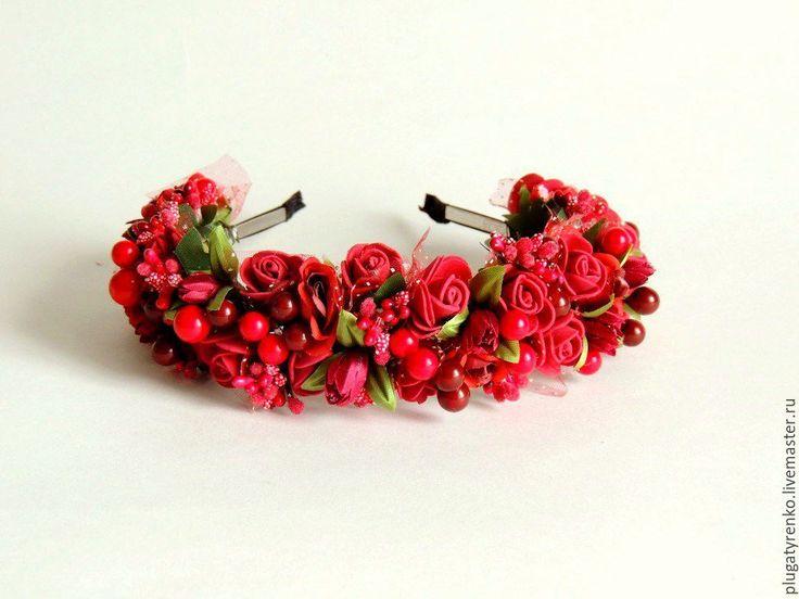 Купить Ободок для волос Спелая вишня - веночек ободок, латексные цветы, ободок для волос, ободок