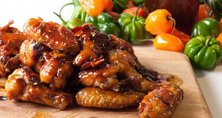 Honey Habanero Bacon Chicken Wings http://gustotv.com/recipes/appetizer/honey-habanero-bacon-chicken-wings/