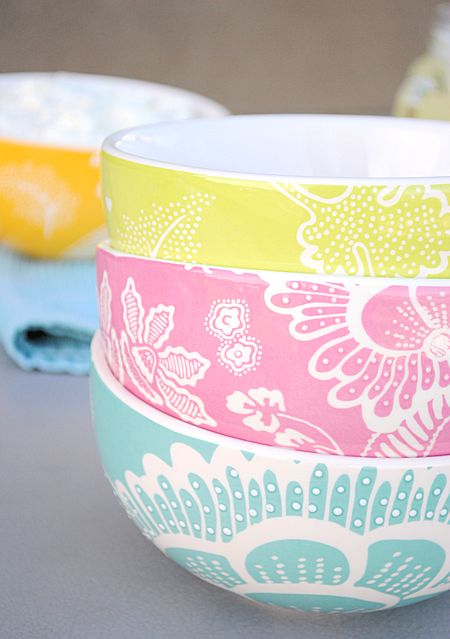 bright serving bowls!---don't know where they were purchased (or when) but I sure do like them
