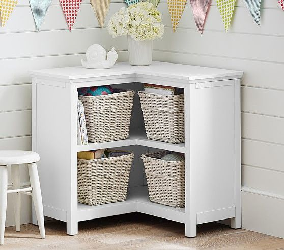 "Cameron Corner Bookcase | Pottery Barn Kids  29.5"" wide along each wall x 14"" deep x 30"" high"