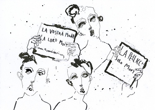 Prada A/W 2013 illustrated by Fiona Gourlay for SHOWstudio.