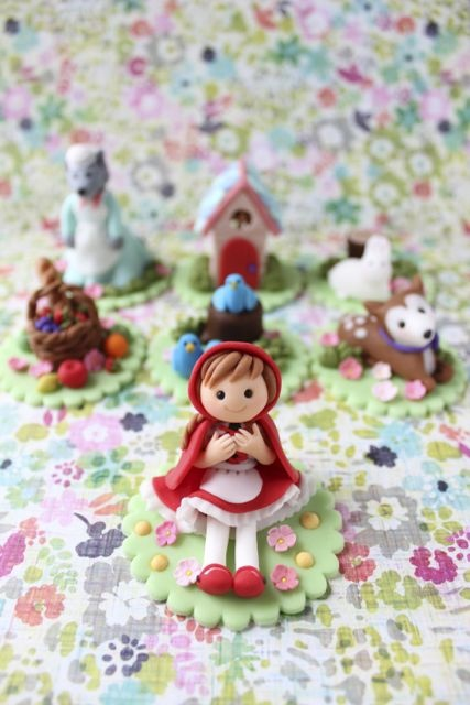 Red Riding Hood Theme Fondant Cupcake Toppers  Created by mimicafe Union