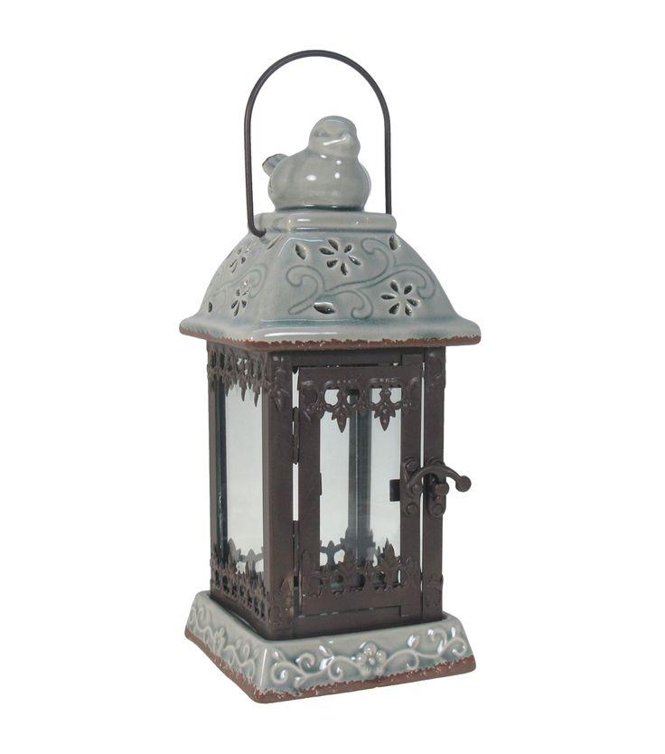 Wild Blooms Bird Perch Lantern-Blue