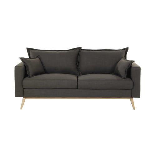 Sofa 3-Sitzer aus Stoff, graubraun