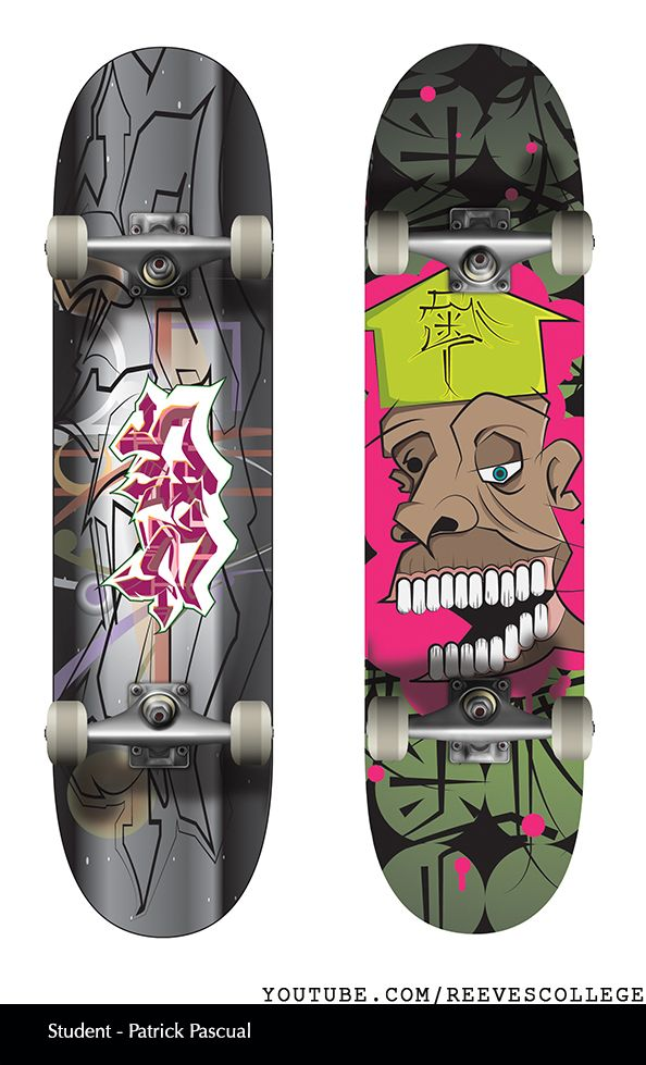 Skateboard Deck Design Adobe Illustrator CS6 by Reeves College Student Patrick P  #skateboard #clipart #design #art #skateboardart #skateboarddesign #skatedeck #deckart #deckdesign #graphicdesign Subscribe to Reeves College:  http://www.youtube.com/subscription_center?add_user=ReevesCollege