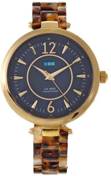 La Mer Sicily Goldtone Black Dial Tortoise Print Bracelet Watch
