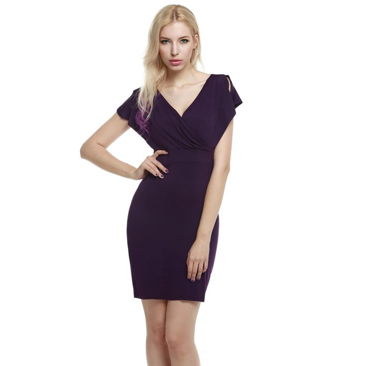 Purple Women Crossover V-Neck Slit Short Sleeve Bodycon Going Out Dresses