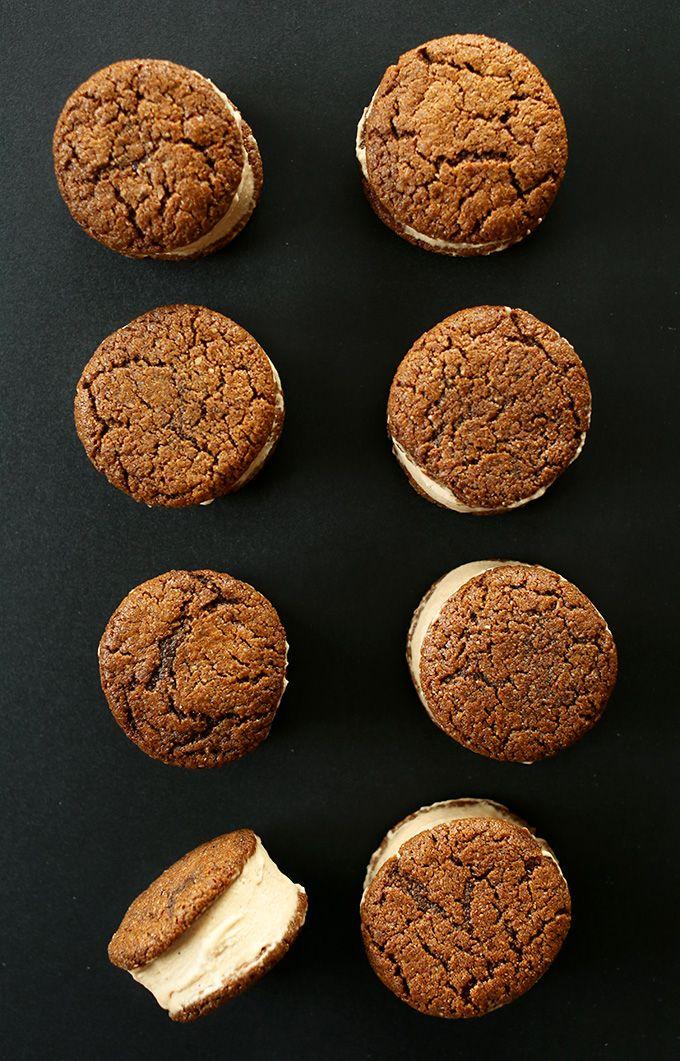 Easy Gluten Free Vegan Chai Ice Cream Sandwiches with Gluten Free Vegan Ginger Cookies