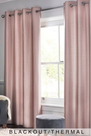 Next Faux Silk Eyelet Blackout/Thermal Curtains – Pink