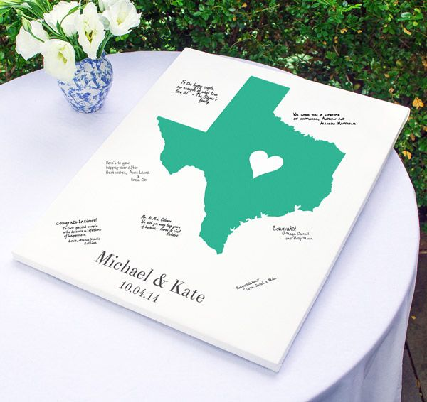 Home State Gallery Wrapped Canvas Guest Book is a wonderful guest book alternative for today's modern couple!  After the wedding, hang this canvas guest book on your wall to remember your special day!  #daisydays