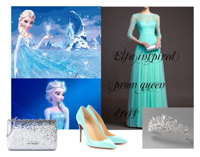 """""""Elsa inspired prom queen dress"""" by gretamaepoole on Polyvore featuring Disney, Christian Louboutin and Love Moschino"""