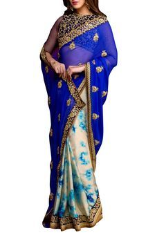 Royal Blue Chiffon Embroidered Saree by Stylee Lifestyle, Saree with Blouse Piece #saree #indianwear #ethnicwear #traditional #indianoutfit #fashion #indianfashion #sareewithblouses #ootd #potd #colorful #pretty #beautiful #glitstreet