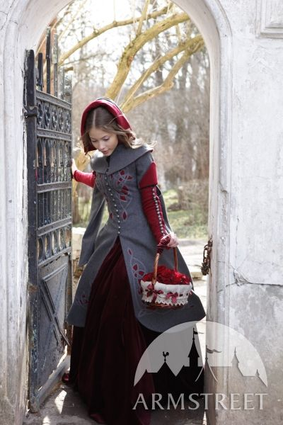 """""""Red Riding Hood"""" from those crafty people at Armstreet. The outside color may be red or this grey, and you can pick the inside color as well.  http://armstreet.com/store/clothes/exclusive-woolen-coat-red-riding-hood"""