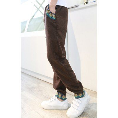 Korean Style Stains Print Drawstring Design Ethnic Embroidery Purfled Linen Pants For Men #men, #hats, #watches, #belts, #fashion