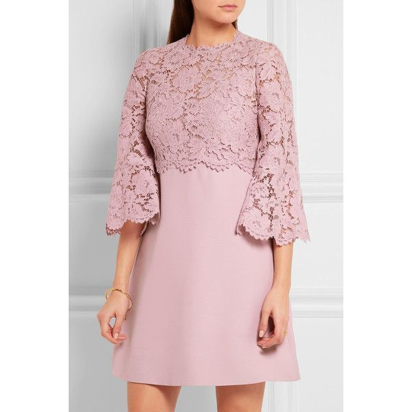 Valentino Bell-sleeve corded lace and crepe mini dress (€2.150) ❤ liked on Polyvore featuring dresses, lace mini dress, rose lace dress, lace dress, lace bell sleeve dress and bell sleeve dress