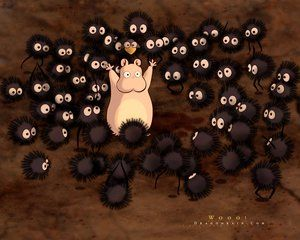 Spirited Away: baby Boh as a mouse with Soot Sprites