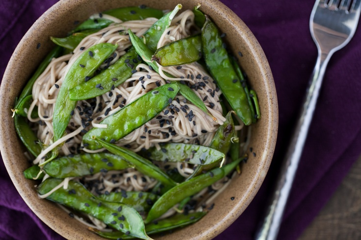 ... Bliss! Roasted Snap Peas and Soba Noodles with Honey Soy Dressing