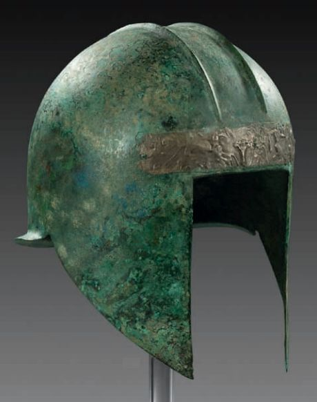 Bronze helmet of Illyrian type II with silver sheet metal applique on the forehead, first half 6th century B.C.