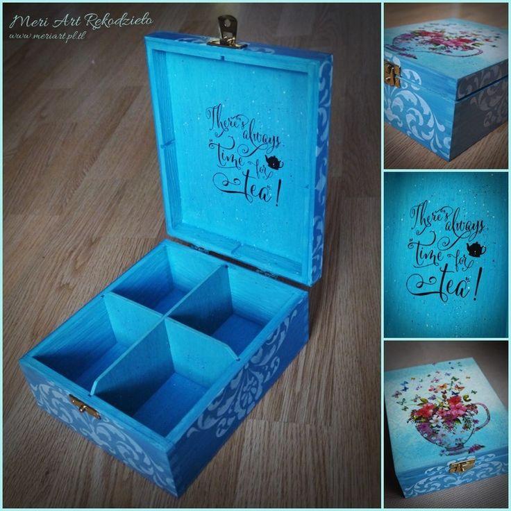 Blue, wooden box for tea #handmade www.meriart.pl.tl; pic. 2