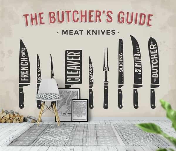 Kjøtt kniver tapet