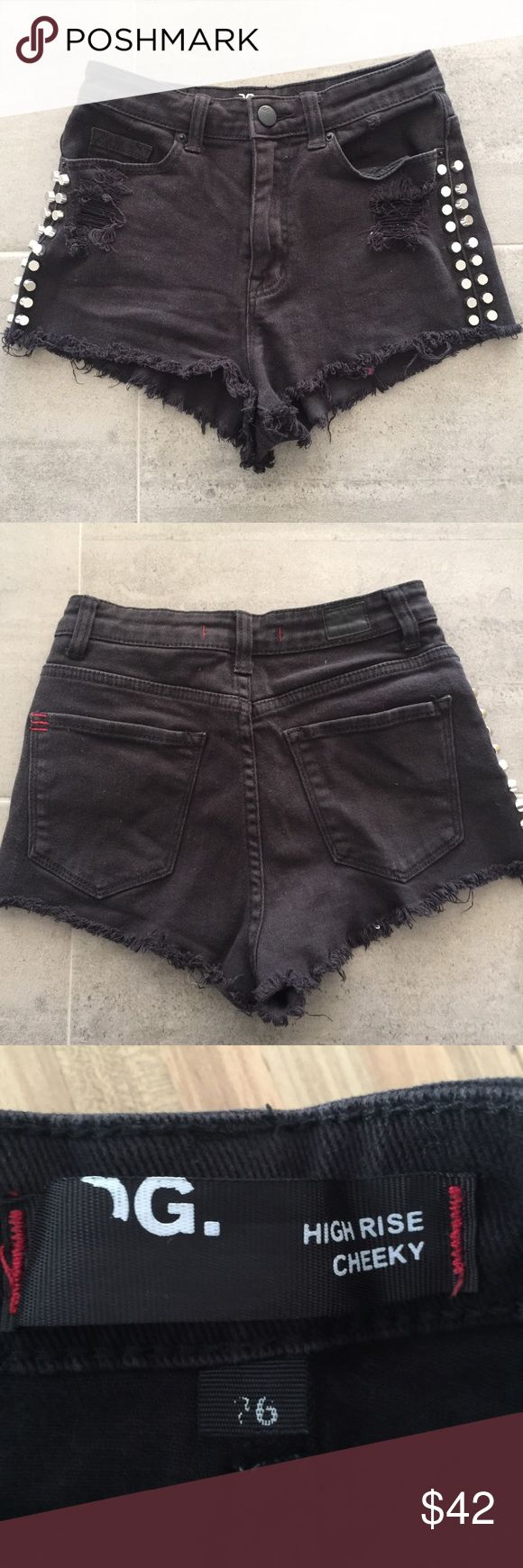 Urban Outfitters BDG denim shorts Urban Outfitters BDG High rise cheeky studded distressed denim shorts.  98 cotton / 2 spandex. Urban Outfitters Shorts Jean Shorts