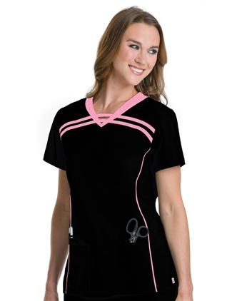 9582 Nouvelle V-Neck Tunic #scrubs #UrbaneScrubs #nurse #nursing #nurses #health #healthcare #breastcancer #awareness @UrbaneScrubs