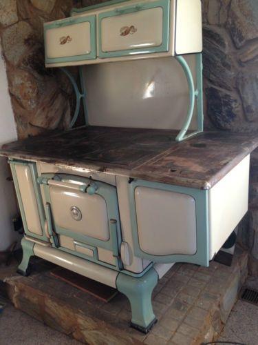 Vintage Cast Iron Wood Burning Amp Porcelain Stove One