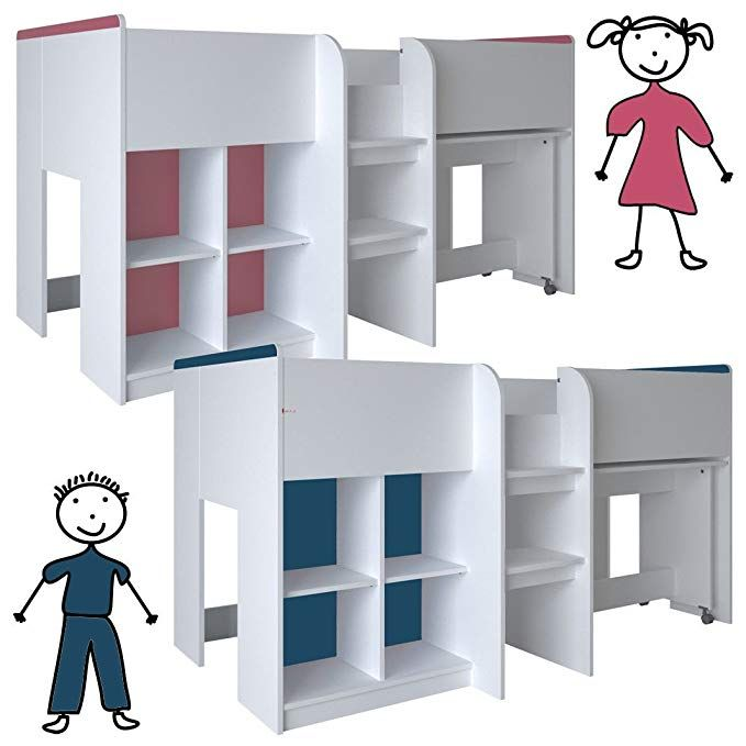 Habeig Kinderbett Hochbett Weiss Rosa Blau Schreibtisch Regal