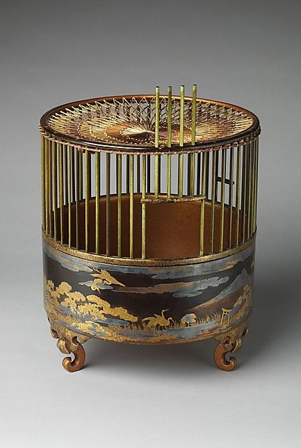 Japanese Bird Cage 18th C. Black lacquer, gold and silver maki-e, silk netting. Cranes and poems refer to Wakanoura, r...