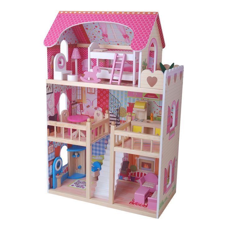 Houten poppenhuis incl. 17 delige meubelset