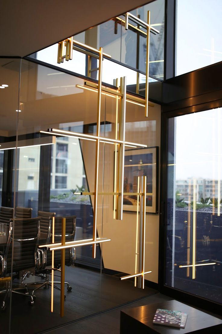 LED - Gold anodised wall feature sth yarra penthouse office..