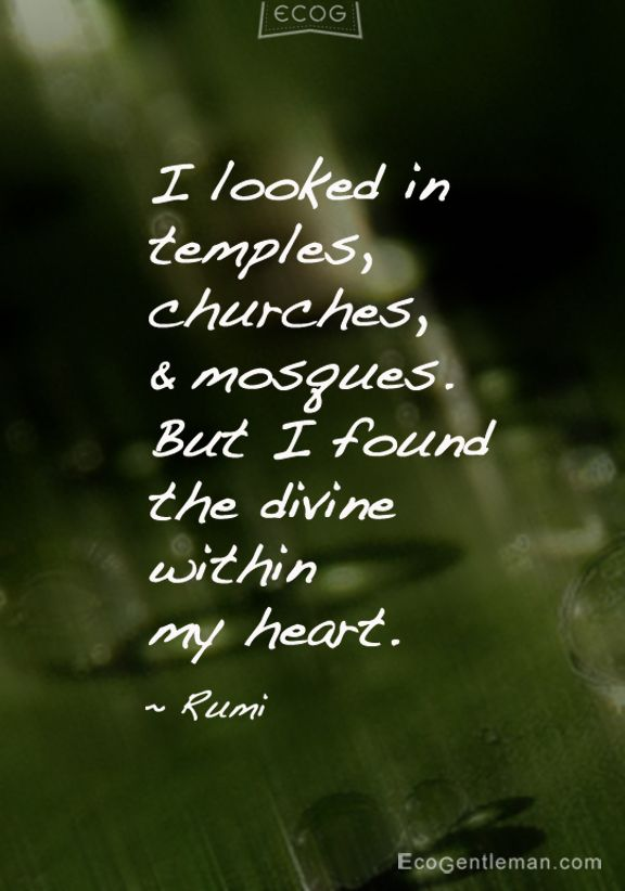 "♂ ""I looked in temples churches and mosques But I found the divine within my heart"" Quote about belief by Rumi"