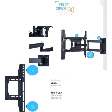 UNHO Full Motion TV Wall Mount for 22-50 inches TVs Tilt and Swivel Articulating Arm Image 7 of 7
