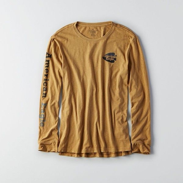 AE Long-Sleeve Graphic T-Shirt ($25) ❤ liked on Polyvore featuring men's fashion, men's clothing, men's shirts, men's t-shirts, neutral, mens cotton shirts, mens graphic t shirts, mens cotton t shirts, mens long sleeve cotton t shirts and j crew mens shirts