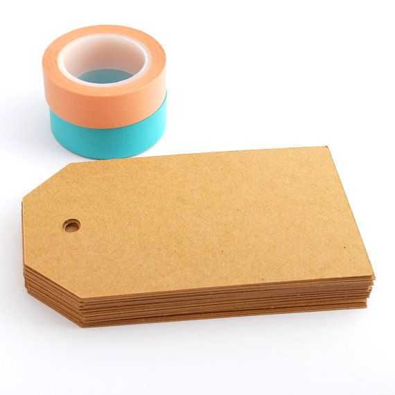 Tags 100 Basic Large in Kraft by PaperCottonLove, $20.00