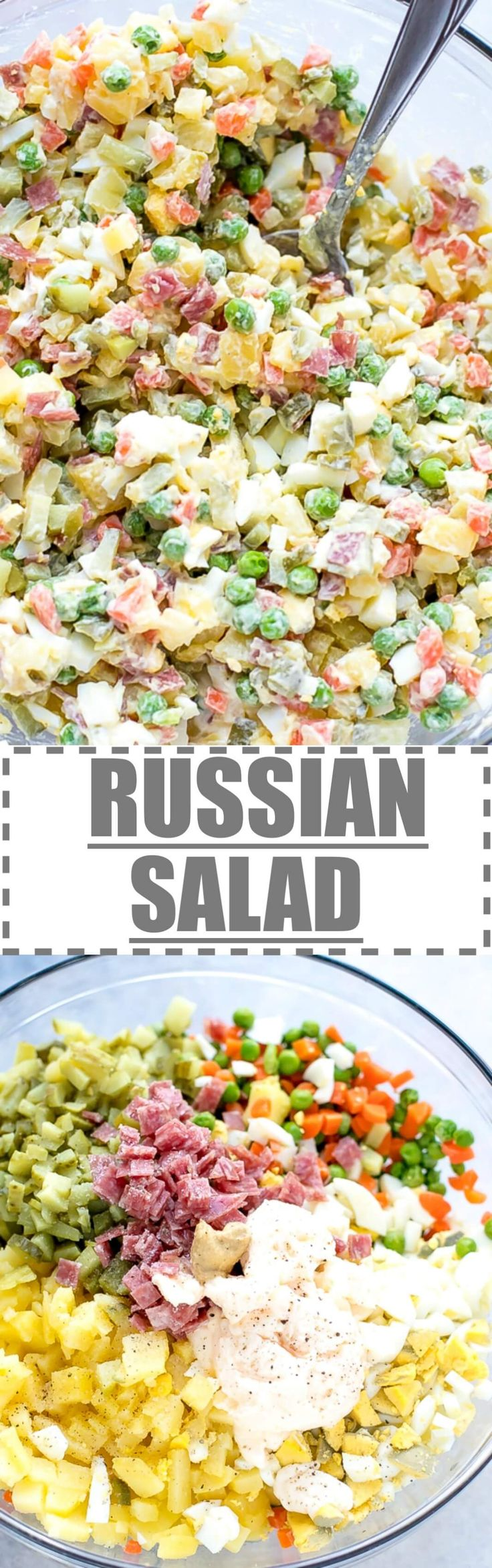 Olivier Russian Salad Recipe - this is the Bulgarian version of a very popular Russian salad, made with diced potatoes, carrots, pickles, eggs, peas, sometimes meat like ham (some people use bologna or salami) and a  creamy dressing made with mayo. via @cookinglsl