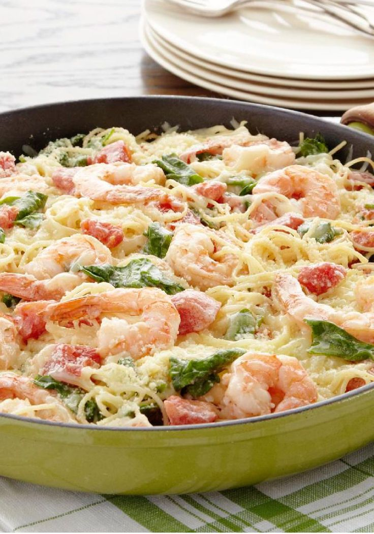 Shrimp & Pasta Formaggio - With tender shrimp in creamy sauce, this pasta recipe is special enough for your summer dinner party, but easy enough for any day of the week!