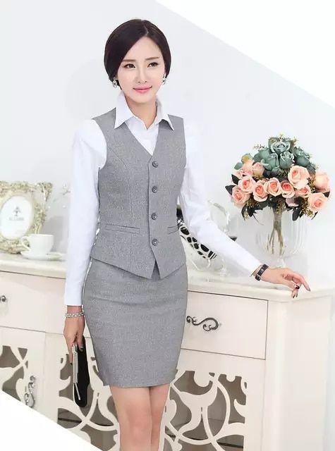 Fasormal mujeres trajes de negocios con falda y la parte superior establece para  mujer trajes de oficina uniforme de trabajo para salón de belleza 3cf70427000e