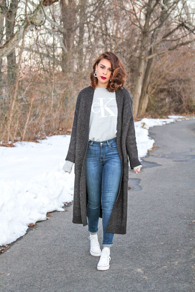 Wearing: Zara cardigan | Calvin Klein sweatshirt | Levis jeans | Converse | Colourpop liquid lipstick in More Better    JavaScript is currently disabled in this browser. Reactivate it to view this co
