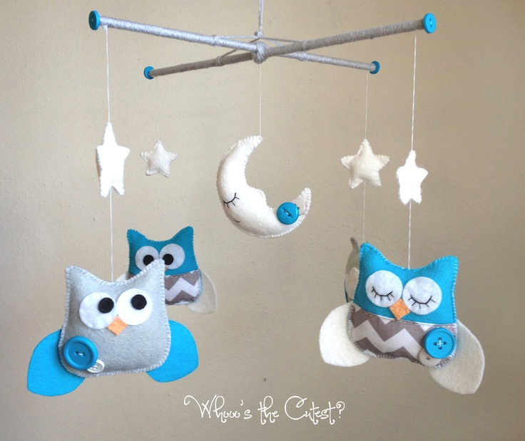 baby mobile turquoise and grey chevron owl mobile for baby boy or customizable mobile
