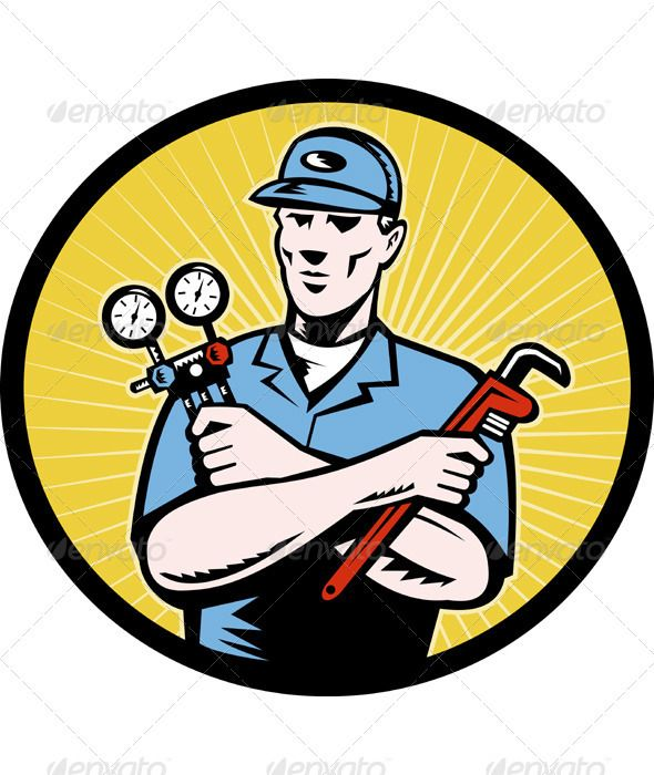 Service Technician With Ac Manifold Gage Wrench Heating