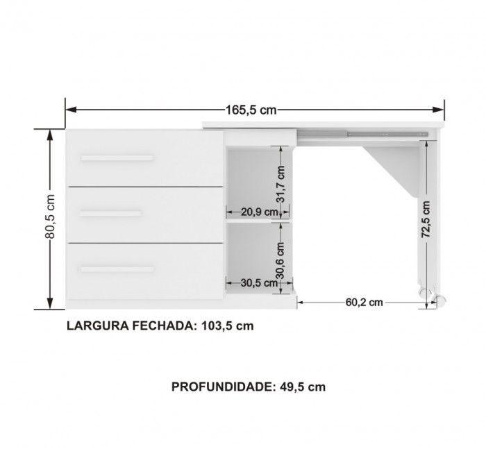 Cômoda Escrivaninha Teen L.o.l - Santos Andira - Branco/ B - R$ 402,99