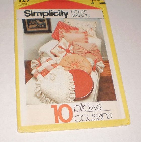 Vintage Simplicity House Pattern #129, Easy To Follow Instruction Cards To Make 10 Fabulous Pillows, Illustrated Step By Step Instructions by TheShoppingMoll on Etsy